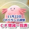 【ポケモンGO】11月22日アップデート!CPバランス調整後のCP増減早見一覧表