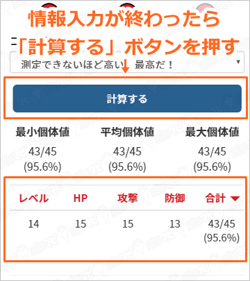 個体値計算の結果