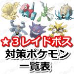 【ポケモンGO】レイドバトル(星レベル3ボス)対策ポケモンをまとめたよ!