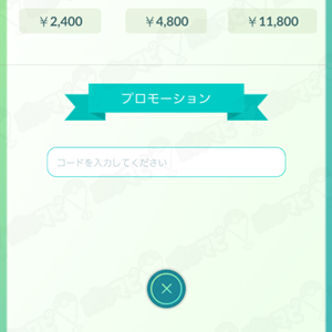 プロモーションコード入力画面