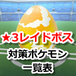【ポケモンGO】レイドバトル(星レベル3ボス)対策ポケモン一覧表