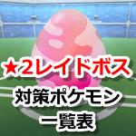 【ポケモンGO】レイドバトル(星レベル2ボス)対策ポケモン一覧表
